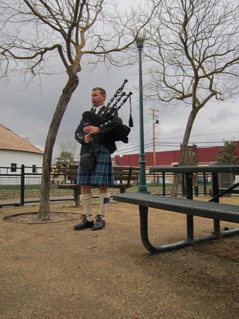 Linus Lancaster on bagpipes