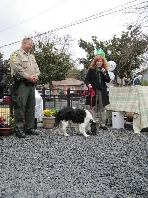 Shirlee Zane brought her own doggie.