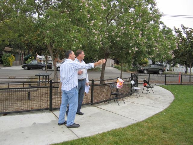 Kevin Teel and Allen discuss park plan