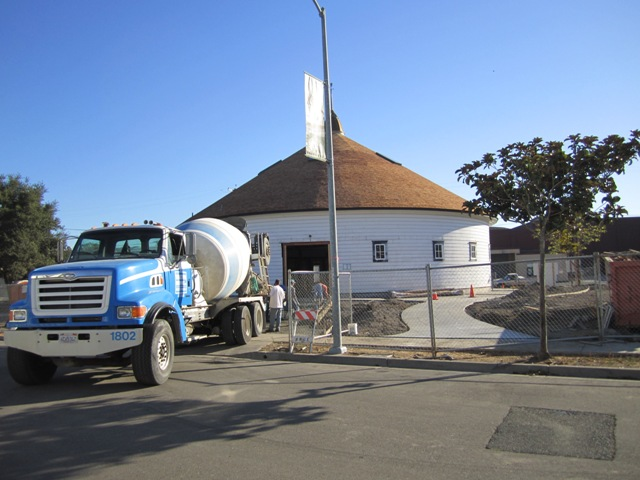 Cement being laid