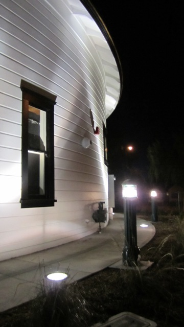 New up and landscaping lights showcase the barn\'s attributes