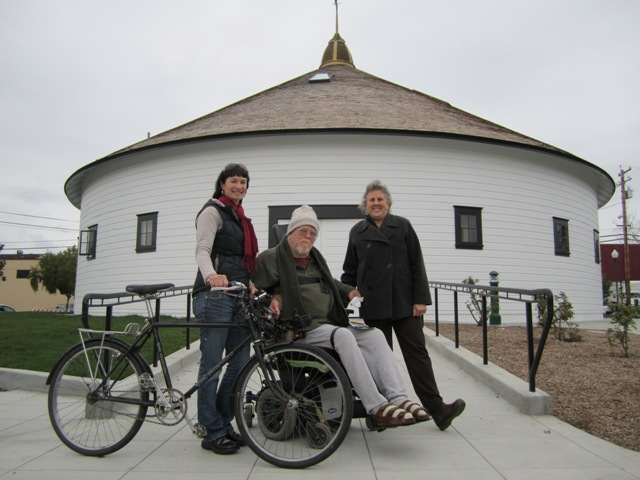 Carissa, Stan and Deborah in front of the newly opened barn