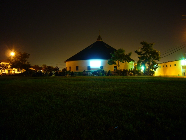 The beautiful barn at night