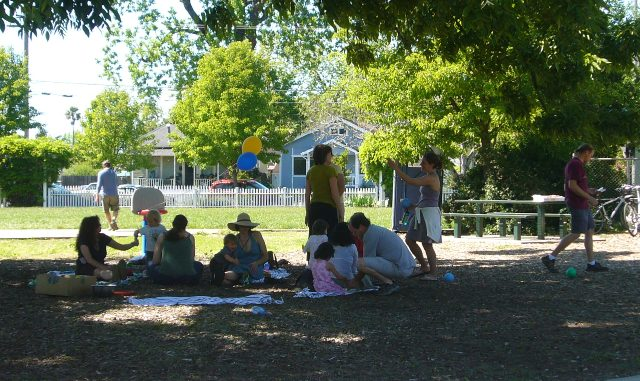 Family & friends enjoy a picnic at DeMeo Park