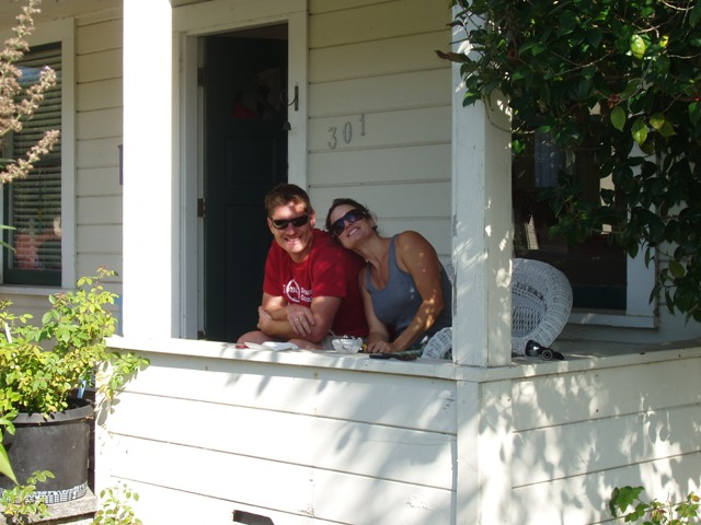 Love birds on a porch