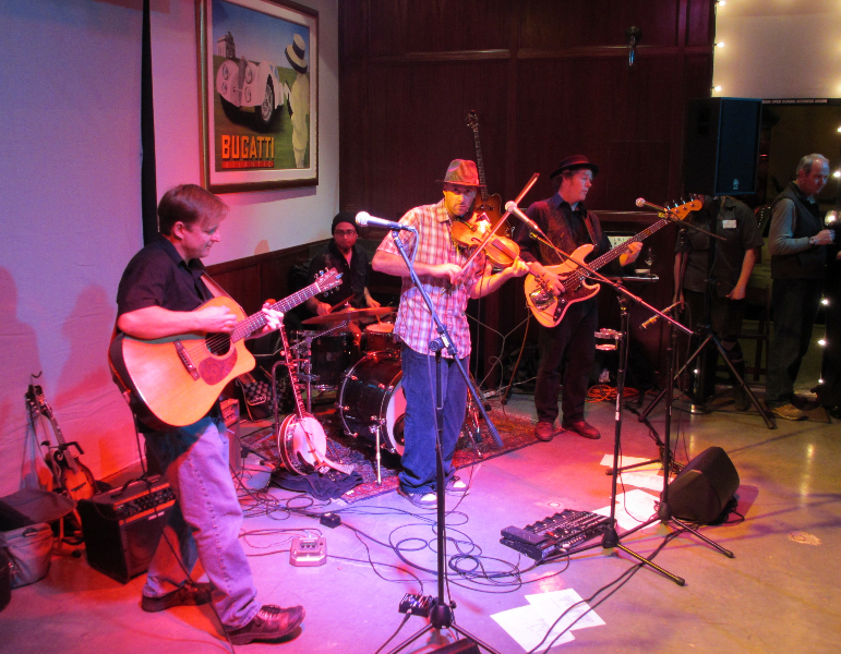 W. E.\'s Tim Sarter plays with Chris Rovetti and the Meatballs at Wineyard grand opening