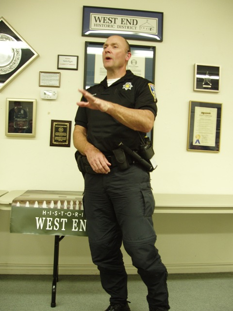 Officer Anderson, Downtown Enforcement Team, answers questions