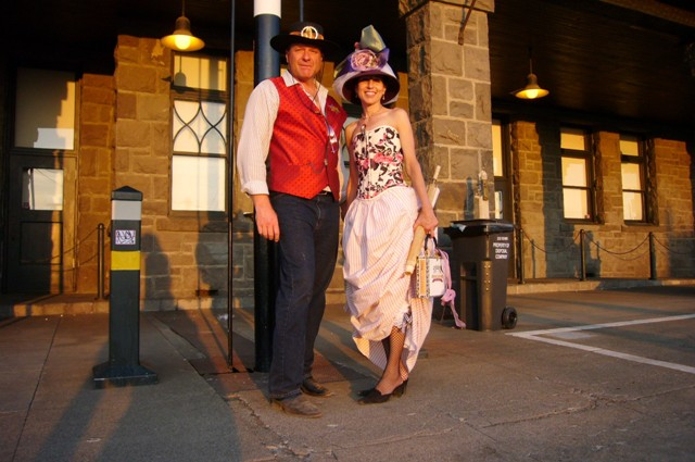 Lea and Allen in front of the Depot
