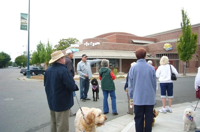 Group stops on Adams St.