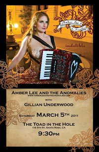 Amber Lee at Toad in the Hole March 5th