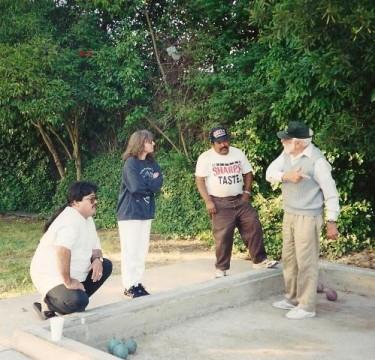 Monty gives bocce instruction at DeMeo Park