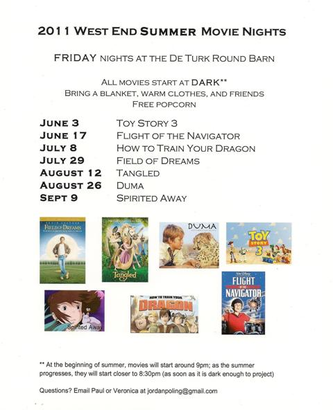 2011 West End Movie Night Schedule