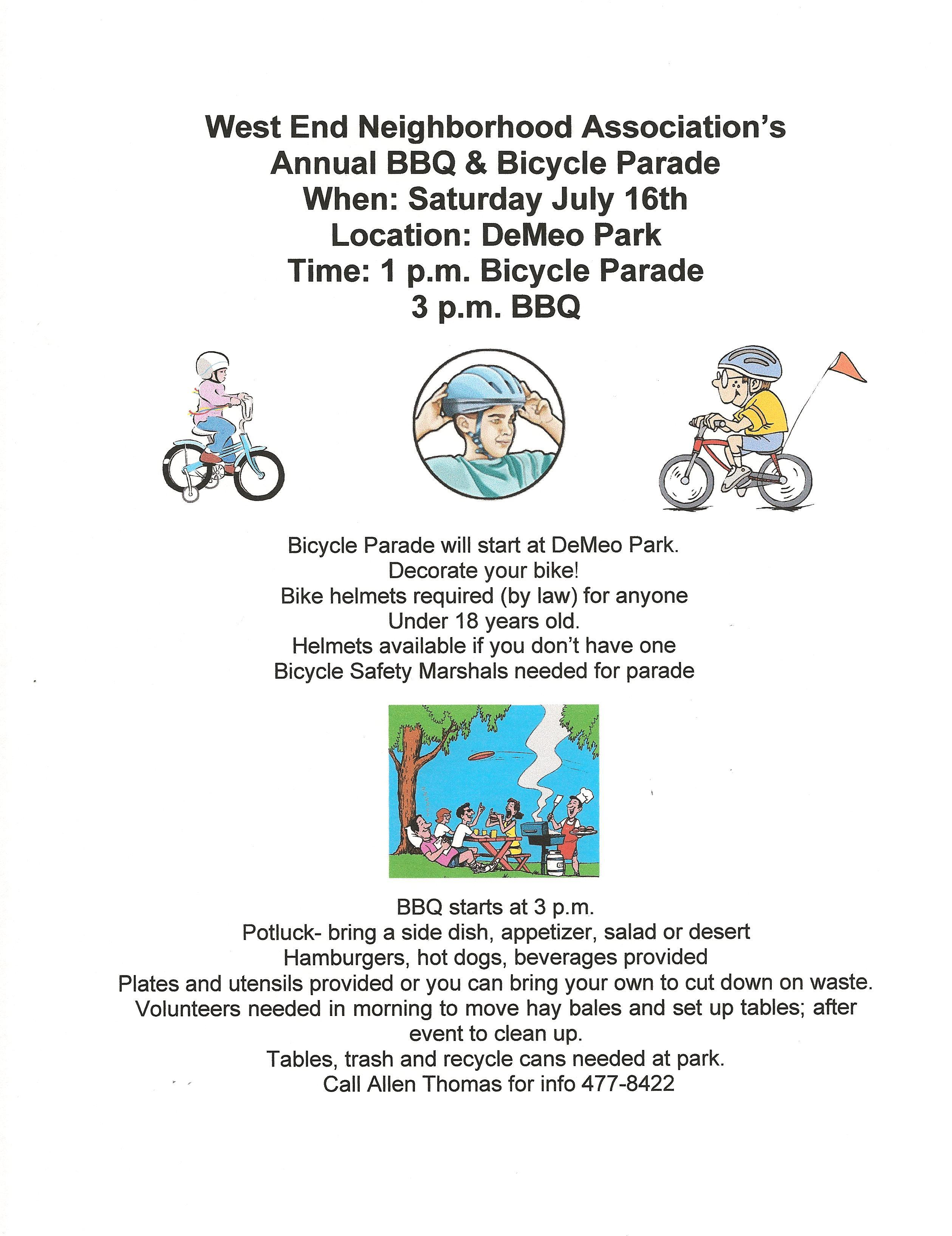 W. E. BBQ & Bike Parade This Saturday
