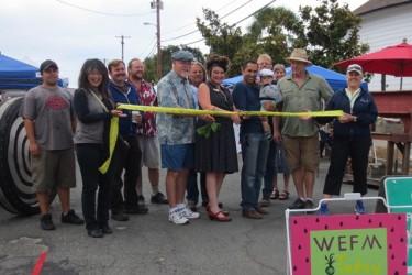 Mayor Scott Bartley and Senator Noreen Evans representatives Arielle Kubu-Jones & Ed Sheffield cut the ribbon.