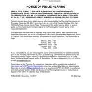 Public Hearing: Quick Pick Market November 30th