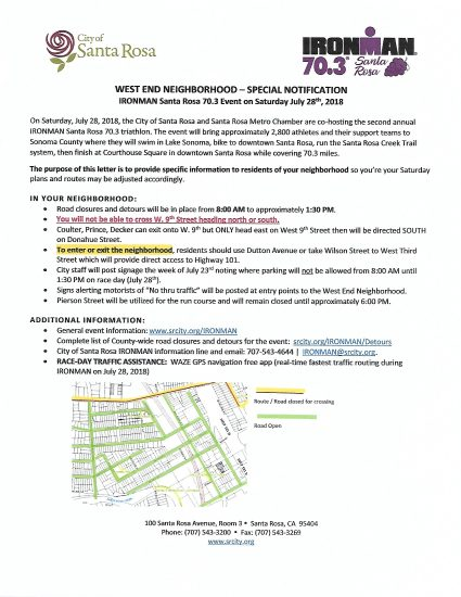 Traffic Alert Ironman This Saturday West End
