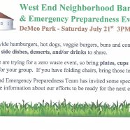 West End Neighborhood BBQ This Saturday 7/21 3 p.m. to 6 p.m.